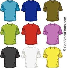 t-shirt, uomini, sagoma
