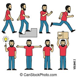 t-shirt, uomo, jeans, attività