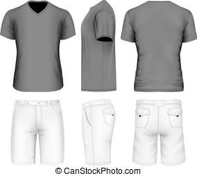 t-shirt, v-neck, homens, calção bermudas