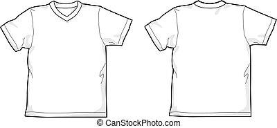 T-shirt V-neck - White T-shirt - back and front, V-neck