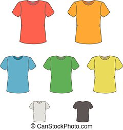 T-shirt vector design templates in various colors