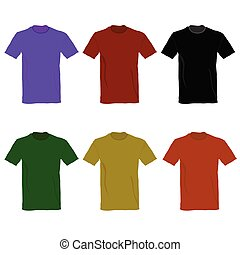 t-shirt vector illustration in six color on white background