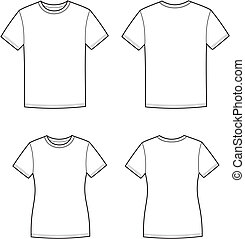 Vector illustration of men's and women's t-shirt. Front and back views