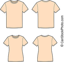 Vector illustration of men's and women's t-shirts. Front and back views