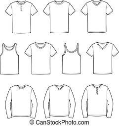 Vector illustration of men's t-shirts, singlets, jumpers