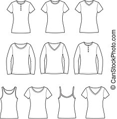 Vector illustration of women's t-shirts, singlets, jumpers