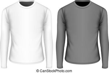 t-shirt, vector, mouwen, lang, illustratie