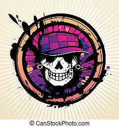 T-shirt vector skull - Skull grunge design for t-shirt