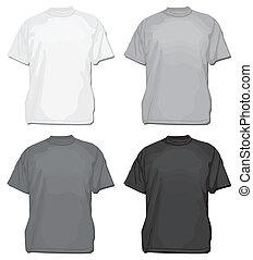 t-shirt, vektor, oder, schablone, tee