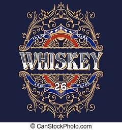 t-shirt, vendemmia, design., whisky, etichetta