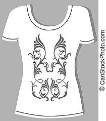 t-shirt, vendemmia, disegno, floreale, elemento