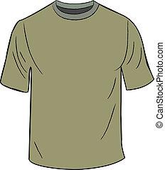t-shirt, vert, conception, gabarit