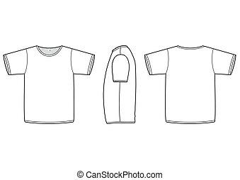t-shirt, vetorial, illustration., básico