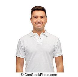 t-shirt, vide, polo, sourire, blanc, homme