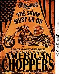 t-shirt, vindima, gráfico, motocicleta