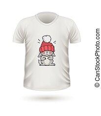 t-shirt, vista dianteira, com, animais, isolado, branco