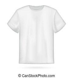 t-shirt, vit, vektor, herrar, mockup.