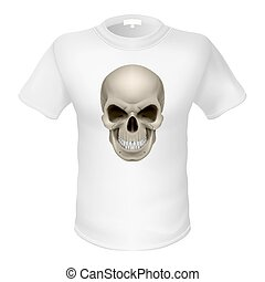 T- shirt - White T-shirt with a skull isolated on white
