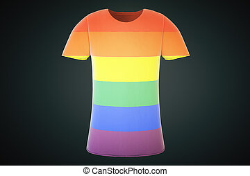 T-shirt with a gay flag on a black background, 3d render