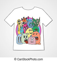 T-shirt with abstract set of monsters.