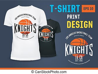 T-shirt with branding of basketball knight team