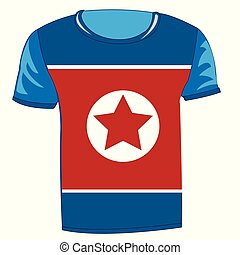 T-shirt with flag of the north korea