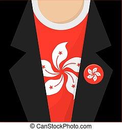 T-Shirt With Hongkong Flag Vector Illustration