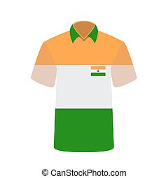 T-shirt with Indian Flag Background. Vector Illustration.