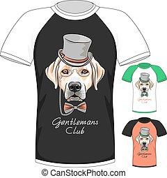 T-shirt with Labrador Retriever gentleman dog