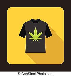 T shirt with marijuana leaf icon, flat style