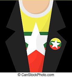 T-Shirt With Myanmar Flag Vector Illustration