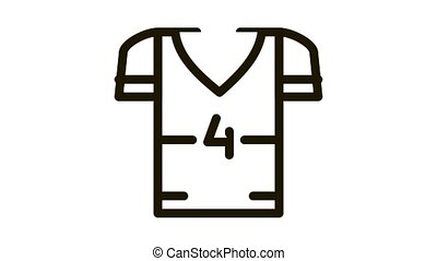 T-shirt with Number 4 Icon Animation. black T-shirt with Number 4 animated icon on white background