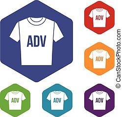 T-shirt with print ADV icons set