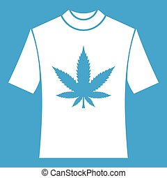 T-shirt with print of cannabis icon white