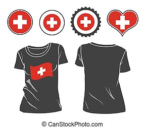 t-shirt with the flag of Switzerlan