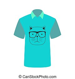 T-shirt with the image of cartoon cat. Vector Illustration.