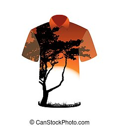 T-shirt with the image of tree and sunset. Vector Illustration.