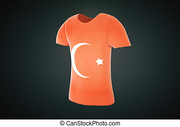 T-Shirt with the Turkish flag on a black background, 3d render