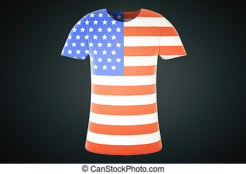 T-shirt with the US flag on a black background, 3d render