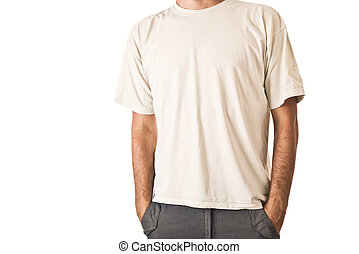 t-shirt, witte , man, leeg
