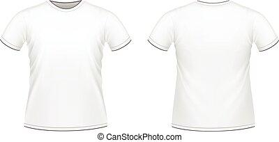 t-shirt, witte , mannen, vrijstaand
