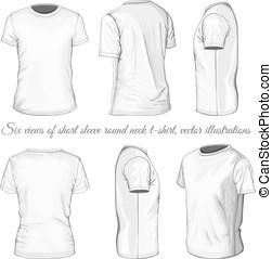 t-shirt, witte , zes, aanzichten