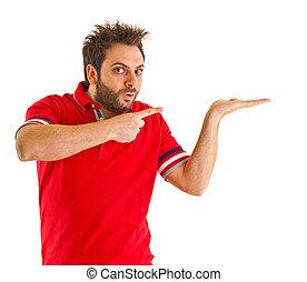 t-shirt, zeigen, rotes , mann