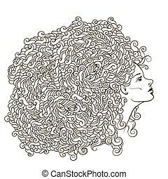 t-shirt, zijn, bloem, illustration., guirlande, kaart, uncolored, groenteblik, abstract, boek, vector, kleuren, uitnodiging, gebruikt, volwassene, head., meisje, omtrek, print.