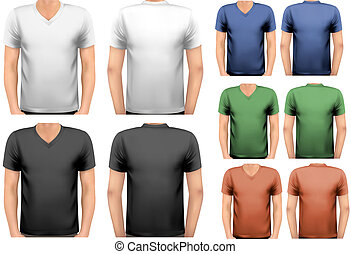 t-shirts., צבע, גברים, עצב, vector., שחור, לבן, template.