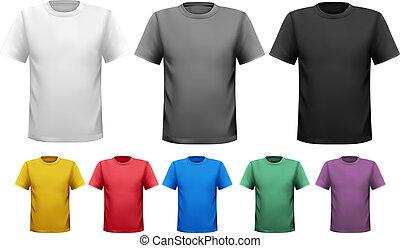 t-shirts., 色, 男性, ベクトル, デザイン, 黒, 白, template.