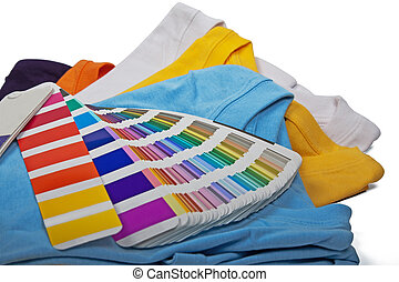 t shirts and chart - five colorful t shirts and color scale