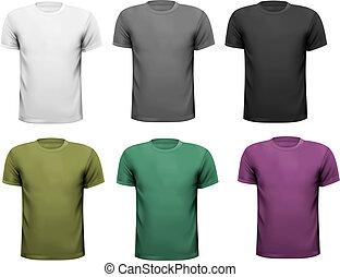 t-shirts., color, hombres, ilustración, vector, negro, ...