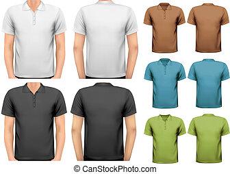 t-shirts., colorare, uomini, vettore, disegno, nero, bianco, template.