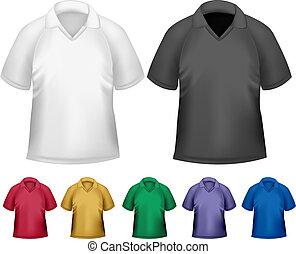 t-shirts., colorare, uomini, vettore, nero, polo, disegno,...